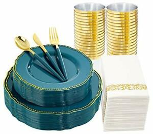 Nervure 175pcs Gold Plastic Plates green Disposable Silverware With Deep Teal