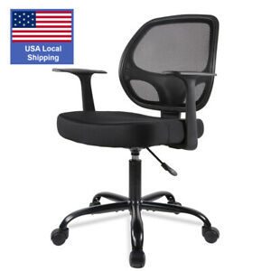 Small Ergonomic Executive Mesh Chair Swivel Low Back Office Chair Computer Desk