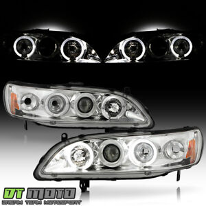 For 98 02 Honda Accord 2 4dr Led Halo Projector Headlights Headlamps Left right