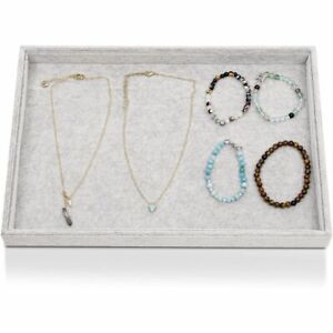 Gray Velvet Jewelry Display Tray Drawer Organizer Storage Ring Earring Necklace