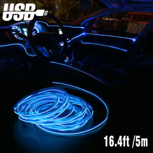 Blue Led Usb Car Interior Decor Atmosphere Wire Strip Light Lamp Accessories