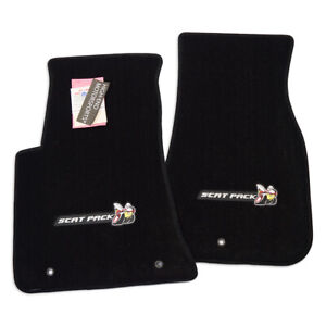 New Scat Pack Logo Dodge Challenger Floor Mats Black 2pc Ultimat Instock