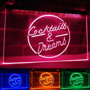 Cocktails And Dreams Neon Led Light Up Sign Bar Pub quality Display Home Decor