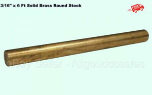 Brass Round Stock Solid 3 16 X 6 Mil Finish 360 Alloy 72 Long Rod