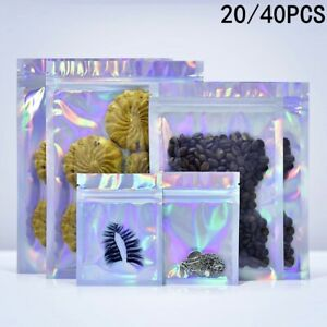 20 40 Iridescent Zip Lock Bags Pouches Cosmetic Laser Holographic Storage Bag