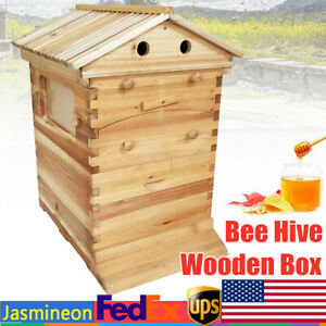 Mobile Bee Hive House Honey Brood Kit Wooden Box For 7 Auto Beehive Frame Comb