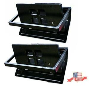 2x Hidden Flip Electric Car License Plate Frame Turn Over W Wireless Remote Usa