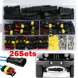 1 2 3 4 Pin Way Sealed Waterproof Electrical Wire Connector Plug Car Auto Set
