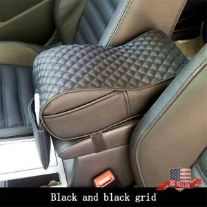 Universal Black Pu Leather Car Armrest Cushion Console Box Cover Pad Pouch Bag