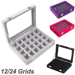 12 24 Grids Jewelry Ring Display Organizer Case Tray Holder Earring Storage Box
