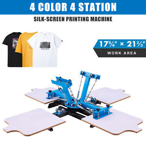 Screen Printing Machine 4 Station Silk Screen Press For 4 Color T Shirts More