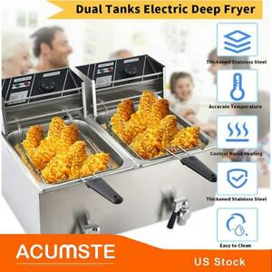 8l 8l Electric Deep Fryer Dual Tank Stainless Steel 2 Fry Basket Commercial Us