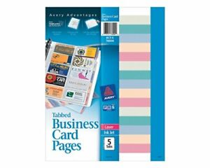 Avery r Business Card Holder Refill Sheets Nonstick Tabbed Pack Of 5 76004