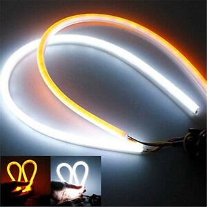 2 Pcs 60cm Led Switchback Drl Tube Light Strip Amber Sequential Flow Turn Signal