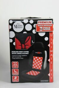 Disney S Minnie Mouse Dot Premium Sideless Seat Cover 3 Piece With Cargo Pocket