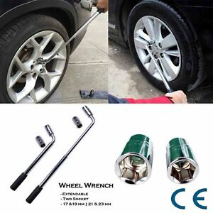 Extendable Lug Wheel Nut Wrench With Reversible Drive Sockets 17 19mm 21 23mm