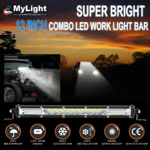 12 Inch 450w Led Work Light Bar Combo Spot Flood Driving Off Road Suv Boat Atv