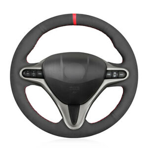 Hand Sewing Black Suede Steering Wheel Cover For Honda Civic 8 8th Gen 2010 2011