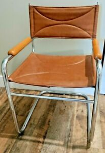 Mid Century Mart Stam Style Cantilever Sling Chrome Chair