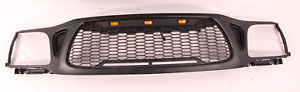 Front Grille Fits For 2001 2004 Toyota Tacoma Mesh Honeycomb With 3 Led Lights