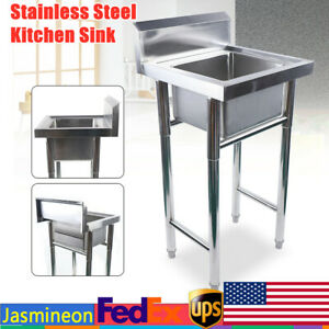 Freestanding Utility Sink Commercial Kitchen Sink Stainless Wash Bowl Basin