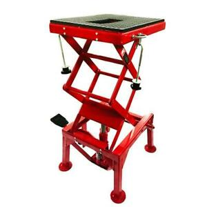 300lb Motorcycle Table Hydraulic Scissor Floor Jack Center Stand Lift Red