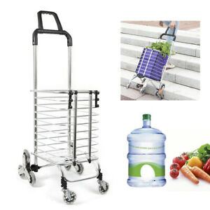 Folding Shopping Cart Utility Trolley Portable For Grocery Travel Silver purple