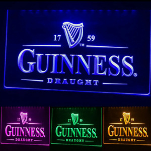 Guinness Beer Led Neon Irish Bar Sign Home Light Up Pub Quality Draught Stout