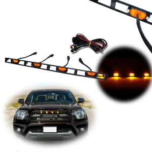 Front Hood Grille Amber Led Lights Assy W wire Harness For 2012 15 Toyota Tacoma