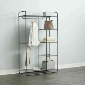 5 Shelves Steel Gray Clothing Rack Double Hanging Bars Clothes Storage Organizer