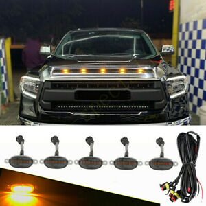 For Toyota Tundra 2008 21 Smoke Front Grille Led Amber Light Raptor Style Cover
