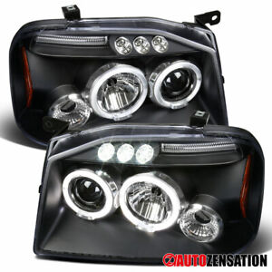 For 2001 2004 Nissan Frontier Black Led Halo Projector Headlights Left Right