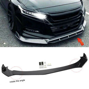 Front Bumper Lip Spoiler Splitters Body Kit Glossy Black For Honda Civic Accord
