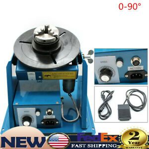 Rotary Welding Positioner 0 90 Turntable Table Welder Bench 3 Jaw Lathe Chuck