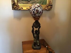 Awesome Vintage Antique Heavy Art Deco 21 Figural Lamp With End Of Days Shade