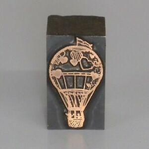 Hot Air Balloon Printing Press Block Wood Metal Letterpress Stamp Heart Printer