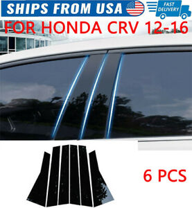 For Honda Crv 2012 2016 6pcs set Door Trim Piano Cover Window black Pillar Posts