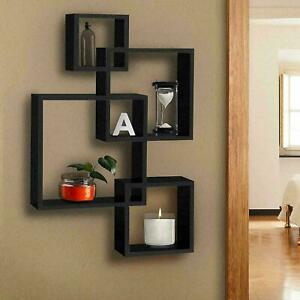 4 Tier Cube Intersecting Wall Mounted Floating Wood Shelves Home Decor Display
