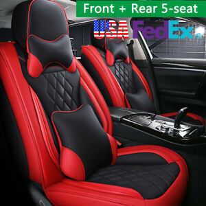 Pu Leather Red Black Car Seat Cover Front Rear Cushions Full Surround W Pillows