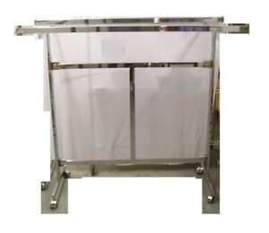 Store Display Fixtures Double Bar Clothing Rack On Rollers Collapsable