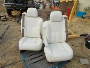 White Leather Gmc Denali Front Seats Full Power Recovered