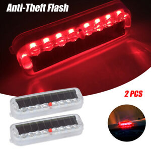 2pc Car Led Fake Dummy Alarm Warning Light Solar Flashing Simulated Security