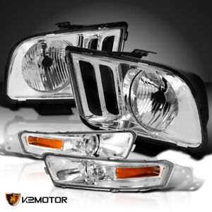 For 2005 2009 Ford Mustang Crystal Headlights Front Bumper Signal Lamps Clear