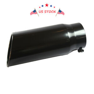 Black Long Rolled End Angle Cut Exhaust Tip 5 Inlet 6 Outlet 15 Inch Tail Pipe