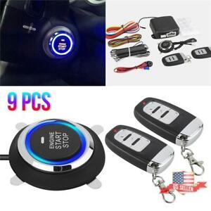 1x Car Alarm Security System Key Passive Keyless Entry Push Button Remote Kit Us