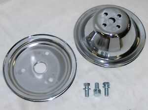 Sbc Small Block Chevy 1 Groove Chrome Steel Short Water Pump Pulley Kit 305 350