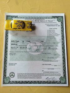 1932 Ford Truck Paperwork Document