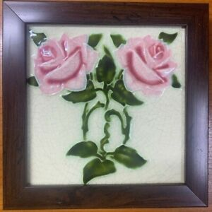 1900s England Maw Co Tile Newly Framed Art Deco Antique Vintage Collectible