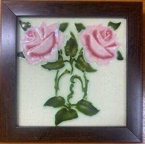 England Maw Co Tile Newly Framed Art Deco Antique Vintage Collectible 1900c