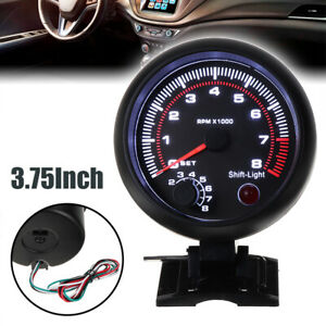 3 75 Universal Car Tachometer Tacho Gauge Meter Led Inter Shift Light 0 8000rpm